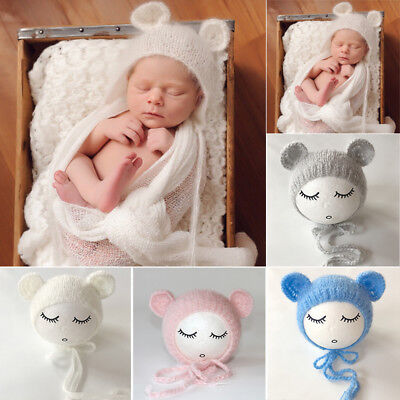Cute Newborn Baby Crochet Knit Handmade Bear Ear Hat Cap Photo Photography Prop