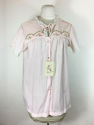 NWT Vintage Pink Nightgown Floral Embroidered Pleated Lace Baby Doll Top