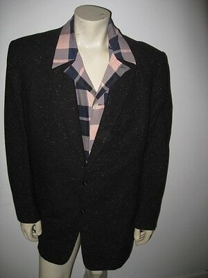 Vintage 1950s Black Fleck Patch Pocket Wool Suit Roos Bros Size 46 Long