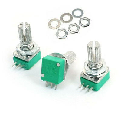 3pcs/Pack 6mm Knurled Shaft Single Linear B-10K ohm Rotary Potentiometer B10K