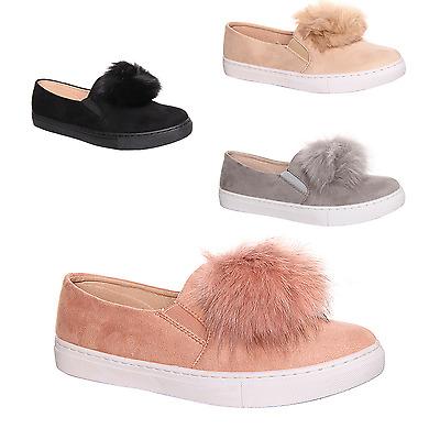 Womens Ladies Girls Pom Pom Suede Loafers Plimsolls Flat Trainers Pumps Shoes