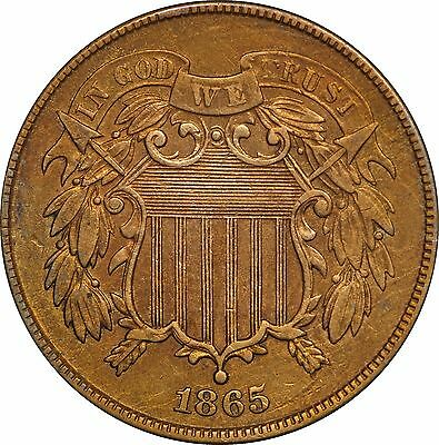 1865 Two Cent 2c - Extra Fine XF Details, Cleaned