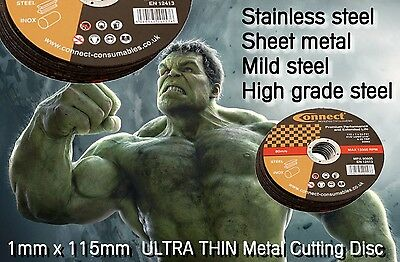 Steel & Stainless Metal Cutting Disc 1mm 115 mm Ultra Thin Angle Grinder Blade