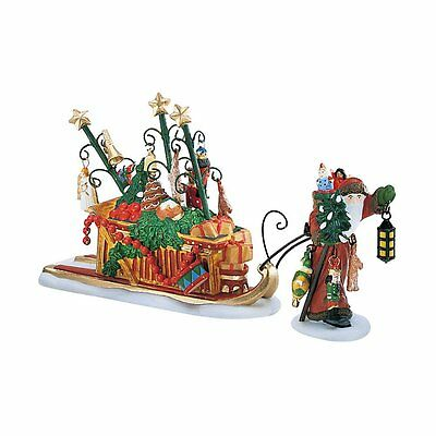 DEPT 56 Dicken's Village FATHER CHRISTMAS'S JOURNEY Figure Pulling Sleigh