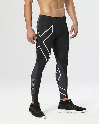 2XU - Men's Elite Compression Tights (MA1936b-BLK/STL) Size XL - 50% Off