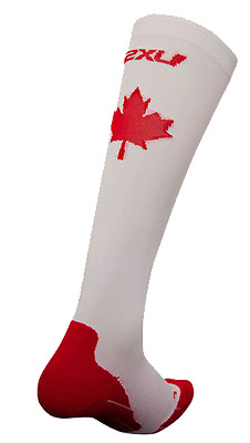 2XU - Men's Compression Perf Run Socks (MA2442e-WHT/CAN) Size L - 50% Off