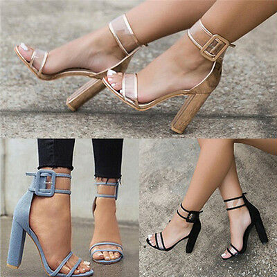 New Womens Clear Heel And Strappy Peep Toe Sandals Ladies Party Fashion Shoes GT