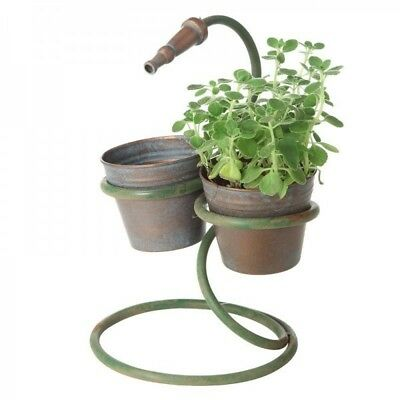 NEW Rustic Metal Planter with Hose