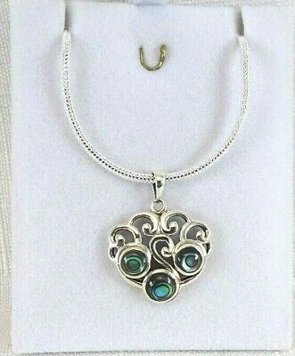 Abalone/Paua Shell 925 Sterling Silver Victorian Style Filigree Pendant & Chain