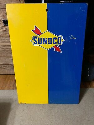 Vintage Sunoco Oil Gas Pump Front Panel With Original Graphics