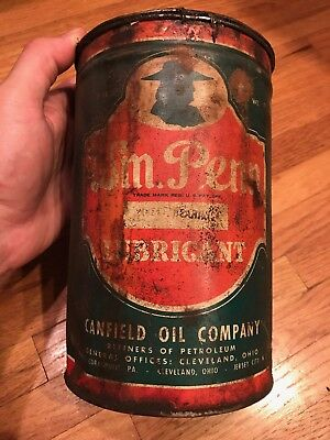 W.M. Penn Lubricants Canfield Oil Company Antique Vintage Oil Can