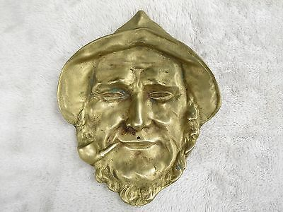 ANTIQUE Figural BRASS Sculpture Old Pipe Smoking Fisherman Ash Tray CANDY DISH