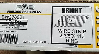 """Premier Fasteners Wire Strip 2-3/8""""×.113 Ring Nails for Bostitch nail gun"""