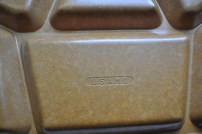 """VINTAGE MEDICAL TRAY Stamped """"U.S.A.M.D.""""  / 6 Compartment/ Food or Medical?"""