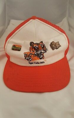 Vtg Tiger Cubs BSA Cub Scouts Boy Scouts Trucker SnapBack Hat Pins & Patch  A1
