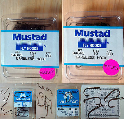 Mustad 94845, Barbless Dry Fly Hooks, Various Sizes and Quantities, From Norway