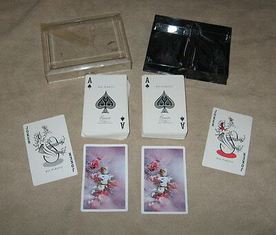 Vintage Stancraft Double Deck All Plastic Playing Cards-Cherubs/Angels & Floral