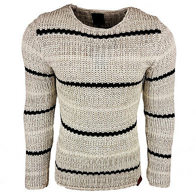 Subliminal Mode - Pull Over Rayé Homme Tricot SB-13247 Grosse Maille