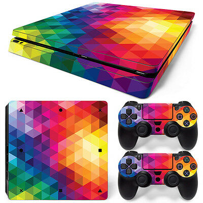 Colorful 1 PS4 Slim Console Controller Skin Sticker Brand NEW *AU STOCK*