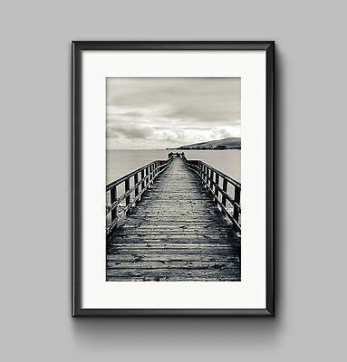 BLACK AND WHITE JETTY Print A4 or A3 Wall Art HOME DECOR