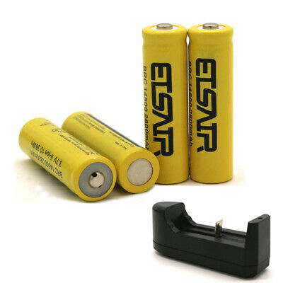 4pcs Full 2800mAh 14500 Battery Charger For Flashlight Rechargeable Li-ion 3.7V