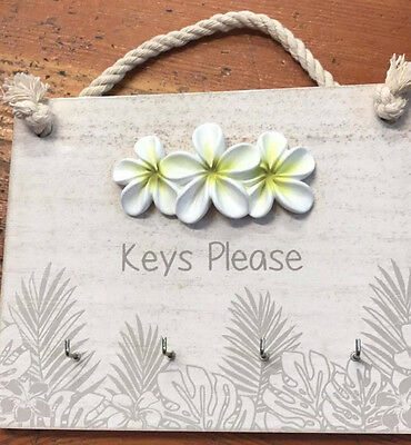 Splosh Frangipani Bahamas Mdf Key Hanger Hooks Home Office Wall Plaque Decor