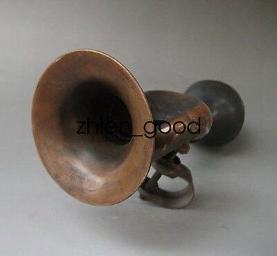 Useful Chinese Old Bronze Collectable Handwork Bike Horn Ornaments Cz843