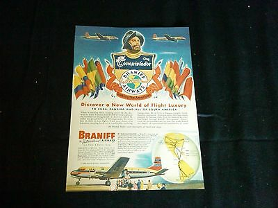 1949 braniff airways magazine print ad full page color airline
