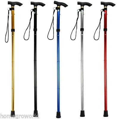 New Aluminum Walking Stick Adjustable Folding Collapsible Travel Cane Non-slip