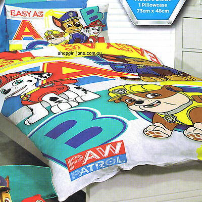Paw Patrol - Easy ABC - Single/US Twin Bed Quilt Doona Duvet Cover set