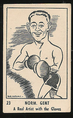 1950 Victorian Nut Supplies RARE Norm Gent Boxer Mirams Caricature Card No 23
