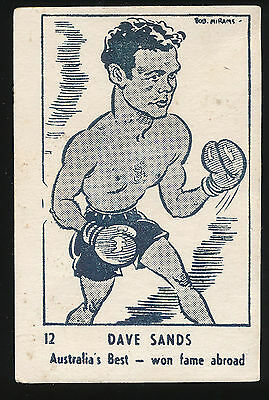 1950 Victorian Nut Supplies RARE Dave Sands Boxer Mirams Caricature Card