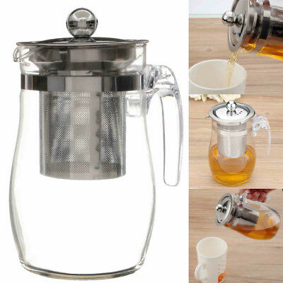 350/750mL Heat Resistant Clear Glass Teapot Stainless Steel Infuser Tea Pot