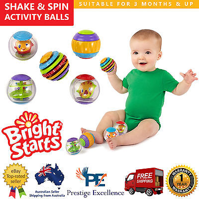 Bright Starts Roll Shake & Spin Activity Balls Kids Toddler Learning Toys Rattle