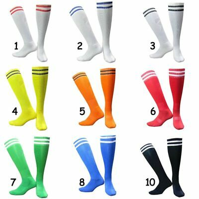 AU Mens Boys Sport Football Soccer Striped Long Socks Cotton Over Knee High Sock