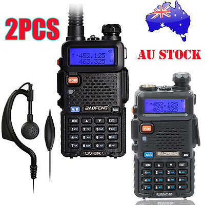 2 x Walkie Talkie Baofeng UV-5R VHF/UHF Handheld Police Fire Transceiver Scanner