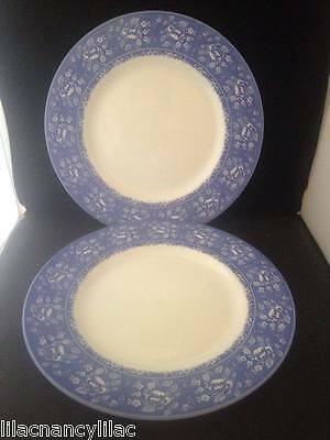 "QUEENS ""ALBERTINE"" BLUE & WHITE  27.5cm DINNER PLATES x 2 (TWO)"