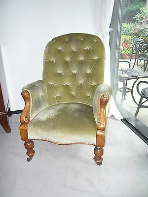 Victorian Mahogany Framed Green Button Back Easy Chair