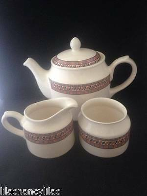"Bhs British Home Stores Sadler ""aztec"" Teapot, Milk/cream Jug & Sugar Bowl"