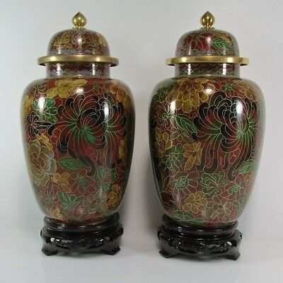 Pair of Rare Vintage Chinese,Tall Bronze Cloisonne Floral Potiche