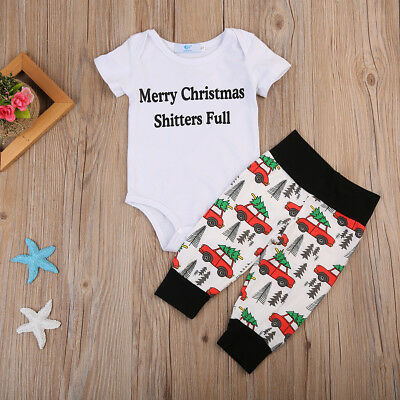 US STOCK Baby Boys Girls Tops Romper+Pants 2pcs Set Outfits Set Cotton Clothes
