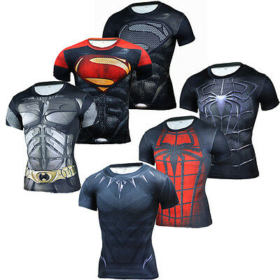 824f276d73ee5 3D Superhero Men Compression T-shirt Gym Fitness Cycling Tops Tee Short  Sleeve