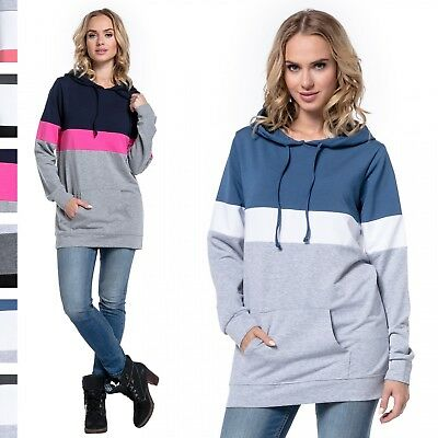 Happy Mama. Women's Nursing Hoodie Breastfeeding Colour Block Maternity. 503p