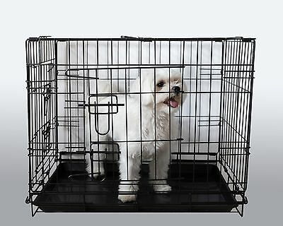 Pet Dog Puppy Cat Training Transport crate Folding cage Small Medium Large 2door