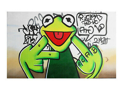 Framed Canvas Happy or unhappy Frog Funny painting Street Pop Art wall decor