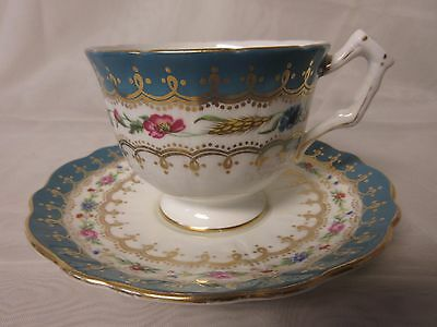 Aynsley 1950s Bone China Crocus Style Teacup & Saucer Teal Floral Swags