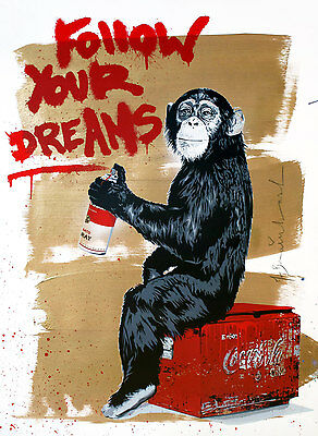 Framed Canvas Monkey chimp Banksy Street Art follow your dreams quote painting