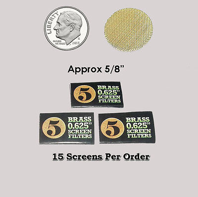 15 Brass Pipe Screen Filters  - Size .625 or 5/8 Inch - 15 screens per order
