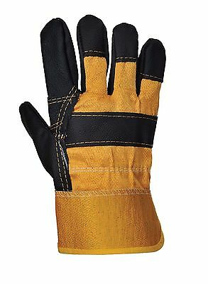 Portwest A200 Furniture Hide Leather Work Safety Glove - Yellow / Black