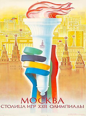 1980 Olympic Games Moscow Russia Vintage Olympics Travel Advertisement Poster